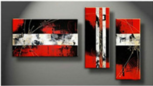 Triptyque design Red Art