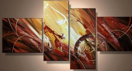 Tableau moderne Red Gold Eclat