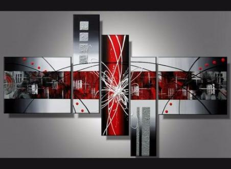 Tableaux modernes rouge metal design