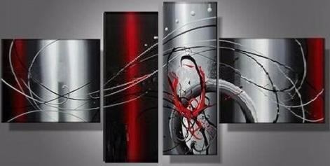 Tableaux design Gris Rouge Illusion