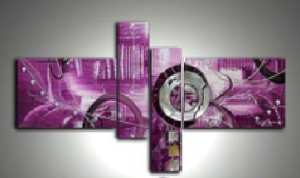 Tableaux abstrait fuschia violet New