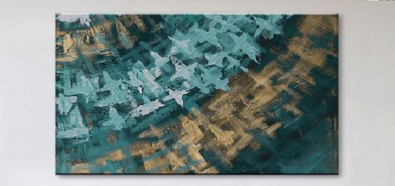 Tableaux design en une toile color s - Tableau bleu canard ...