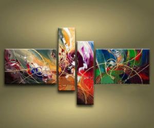 Tableau multicolore abstrait peintures ejrac for Tableau design colore
