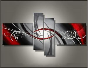 tableau triptyque moderne rouge