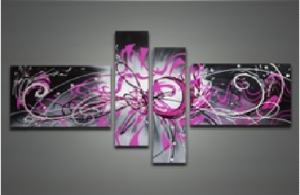 Tableau triptyque tableaux design contemporains for Tableau noir et rose