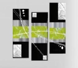 Tableau Triptyque vert anis élégance metal