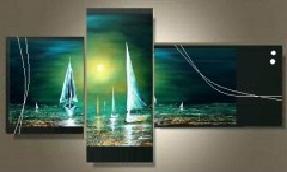 Tableaux peint main abstrait mer bateaux et fleurs design par ejrac - Peinture sur toile triptyque ...