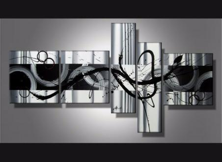 tableau abstrait noir et blanc solly. Black Bedroom Furniture Sets. Home Design Ideas