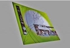 Tableau carré abstrait vert anis design EJRAC.