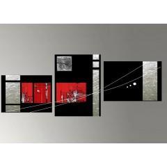 Tableaux design rouge abstrait et modernes peints par ejrac for Tableau noir blanc rouge