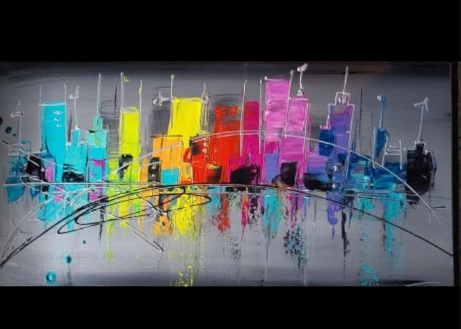 Tableau Panoramique City Multicolore