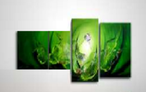 Tableau triptyque design Green Pearl