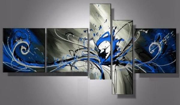 Tableau moderne abstrait bleu ondine for Tableau decoration interieur moderne