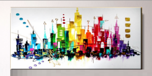 Tableau city coloré panoramique