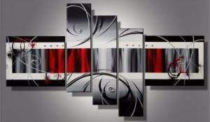 Tableaux design rouge metal five