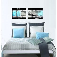 tableau design bleu en triptyque abstrait ejrac. Black Bedroom Furniture Sets. Home Design Ideas