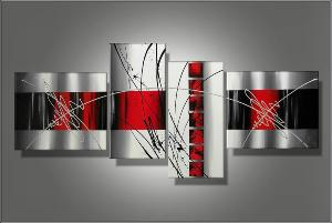 tableaux triptyque design rouge gris blanc ejrac. Black Bedroom Furniture Sets. Home Design Ideas