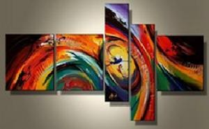 Tableau design multicolore peint main abstrait ejrac - Tableau colore design ...