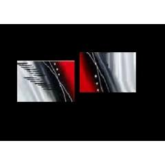 Tableaux design rouge abstrait et modernes peints par ejrac for Tableau tete de lit