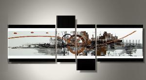 Tableaux design abstrait marron et noir moderne ejrac for Tableaux design pas cher