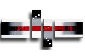 Tableau design abstrait moderne rouge for Tableau noir blanc rouge