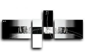 Tableau design noir et blanc modernes peints par ejrac for Tableau triptyque noir et blanc