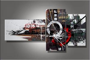 Tableau triptyque Circle red