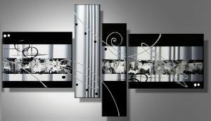 tableaux design noir blanc mtal elegance