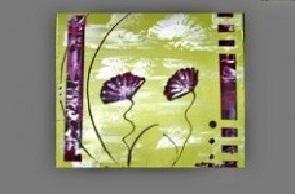 Tableau carré vert anis coquelicots violet peint main EJRAC