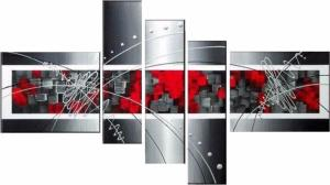 Tableaux design grey red Squares