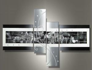 Tableau triptyque design metal gris blanc reliefs ejrac - Tableau gris et blanc ...
