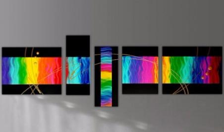 Tableaux abstraits multicolore Touch the Rainbow