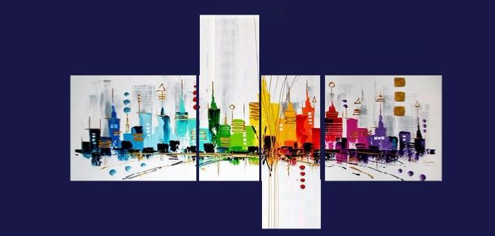 Tableau design quadriptyque city color ejrac - Tableau moderne colore ...