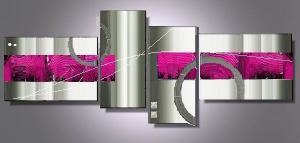 Tableaux design fuschia modernes et abstraits ejrac for Tableau abstrait gris et rose