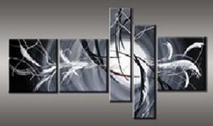 Tableau moderne noir blanc et abstraits ejrac for Tableau noir blanc gris