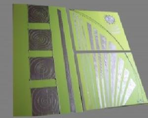 Tableau Triptyque Vert anis métal