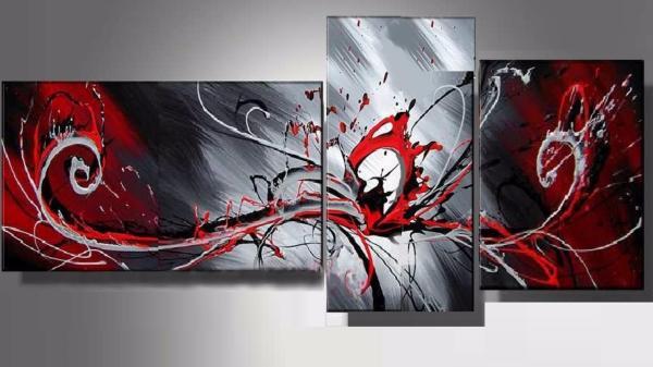tableaux design triptyque rouge design ejrac. Black Bedroom Furniture Sets. Home Design Ideas