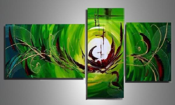 Tableaux Design Triptyque Vert Glow-Ejrac.
