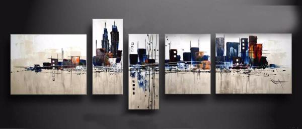 Tableau Contemporain Ville Moderne Beige Color