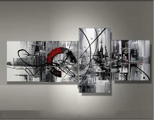Tableau abstrait d coration moderne art abstrait ejrac - Tableau triptyque contemporain ...